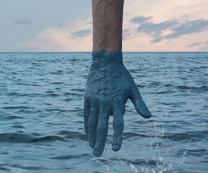 blue, hand, and ocean image