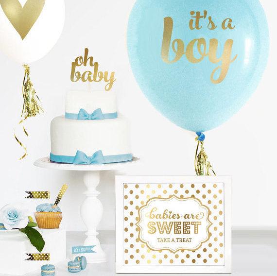Boy Baby Shower Cake Topper Boy Gold Baby Shower Cake
