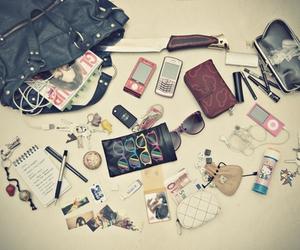 bag, ipod, and phone image