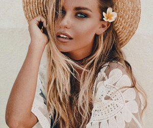 blonde, fashion, and flower image
