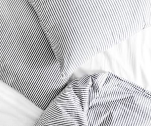 bed, white, and stripes image