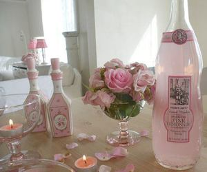 pink, candle, and rose image