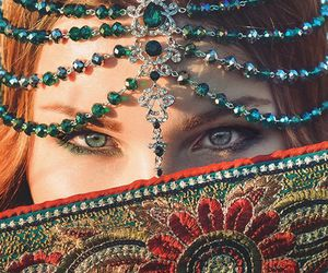 eyes, head piece, and jewelry image