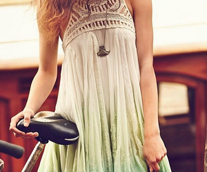 bicycle, pretty girl, and summer dress image