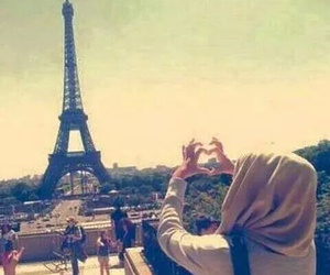 paris, hijab, and heart image