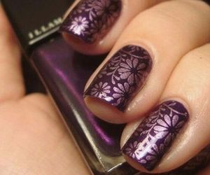 nails, purple, and flowers image