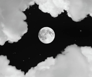 background, black and white, and full moon image