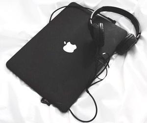 black, apple, and headphones image