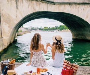 best friends, girl, and picnic image