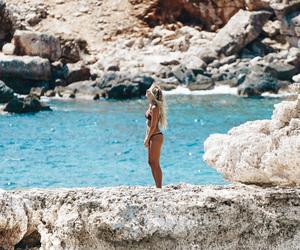 bikini, blonde, and curly hair image