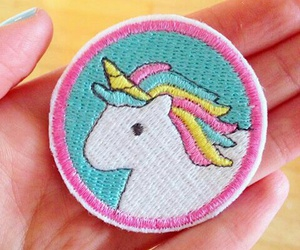 unicorn, patch, and pink image