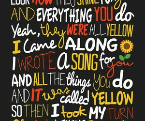coldplay, yellow, and Lyrics image