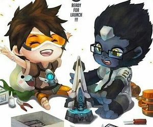 winston, tracer, and overwatch image