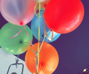 balloons, blue, and colorful image