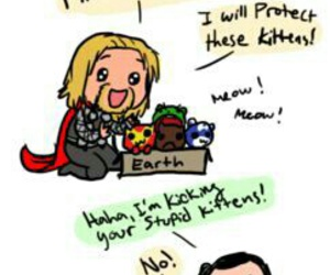 kitten, thor, and Avengers image