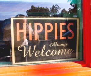 hippies, orange, and welcome image
