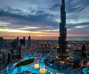 city, night, and Dubai image