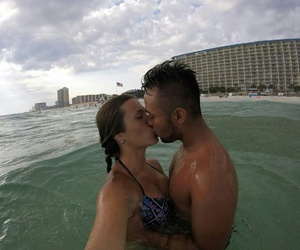 beach, couples, and kissing image