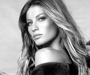 Gisele Bundchen, model, and black and white image