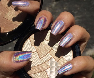 make up, holo, and nail art image