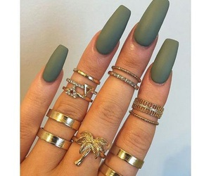 nails, green, and rings image