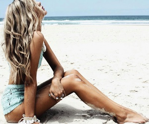 beach, blonde, and model image
