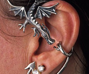 dragon, earrings, and silver image