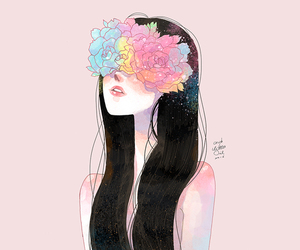 girl, flowers, and art image
