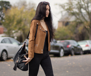 blog, girl, and suede jacket image