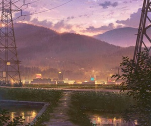 anime, art, and landscape image