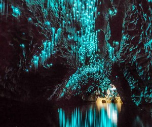 cave, light, and blue image