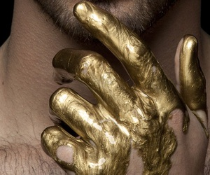 gold, hand, and man image