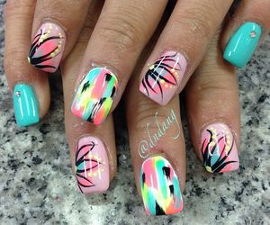 nails, colorful, and pink image