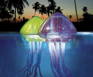 pool, jellyfish, and light image