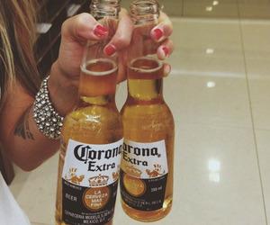 beer, girl, and corona image