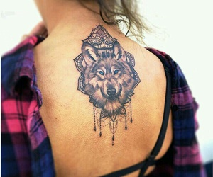 tattoo, wolf, and back image
