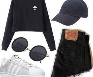 adidas, baseball cap, and black image