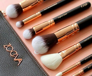 girl, Brushes, and makeup image