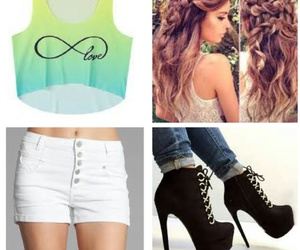 white high waisted shorts, black boot heels, and ombre crop top image