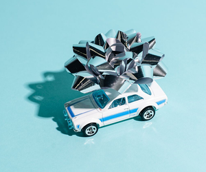 blue, bow, and car image