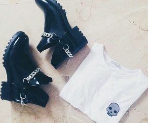 skull, boots, and girl image