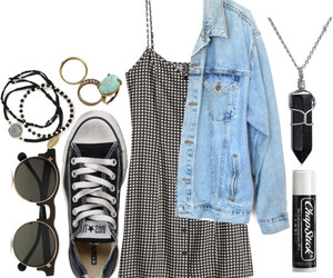converse, denim jacket, and feather image