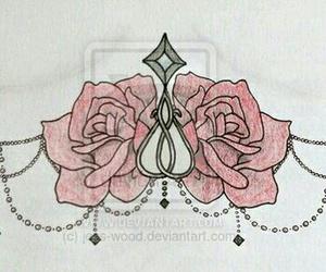Tattoos, underboob, and rose tattoos image