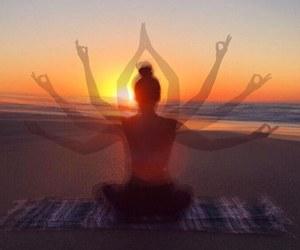 beach, summer, and yoga image