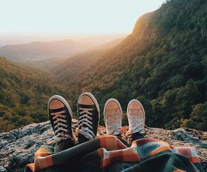 best friends, fashion, and sunset image