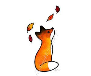 fox, autumn, and art image