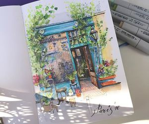 art, cafe, and city image