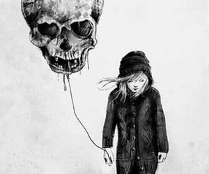 skull, girl, and balloons image
