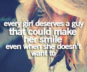 girl, smile, and quote image