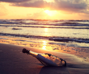 beach, sunset, and bottle image